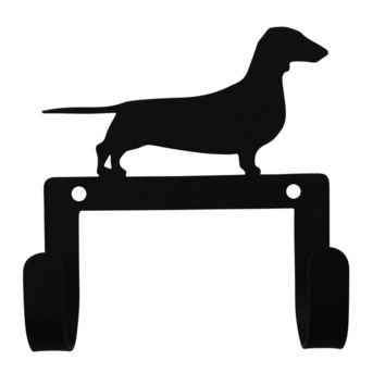 Wrought Iron Dachshund Dog Leash & Collar Wall Hook