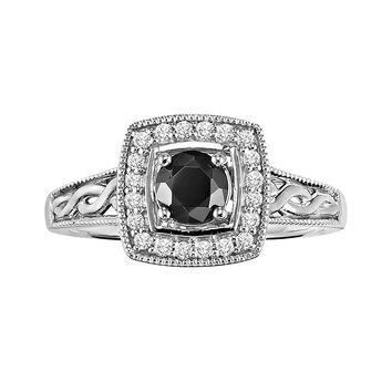 Cherish Always Round-Cut Black & White Diamond Frame Engagement Ring in 10k White Gold (3/4 ct. T.W.)