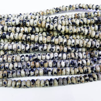 dalmatian jasper spacer beads - natural stones for jewelry making - faceted semi precious beads -jewelry supplies wholesale -15inch