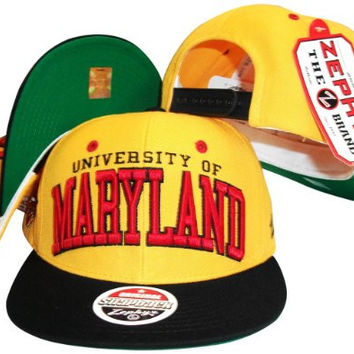 Maryland Terrapins Gold/Black Two Tone Snapback Adjustable Hat / Cap