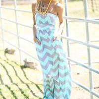 Chevron Maxi Dress - Mint