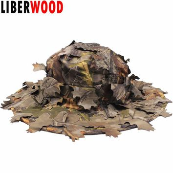 LIBERWOOD Jungle Sniper hat 3D Real Tree leaf Camo Hunting hats cap Airsoft caps fall leaf Sneaky Camouflage hunter Archery cap
