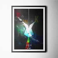 Pink Floyd Print, poster, the dark side of the moon, rabbit, rainbow, colorful, roger waters, Pink Floyd poster, Pink Floyd art print