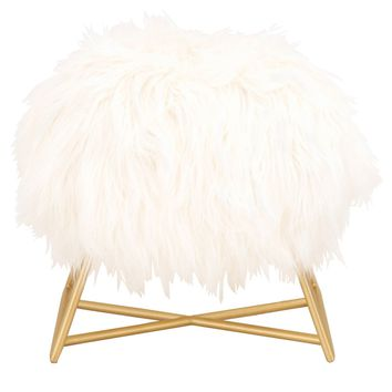 Margo Ottoman White Fur, Brushed Gold