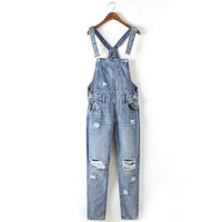 Distressed Overalls Denim Jumpsuit