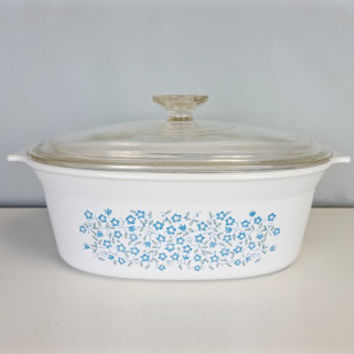 Vintage Blue Heather Pattern 2.5 Quart Corning Ware Casserole Dish, Rare Corningware Designer Blue Heather Pattern Large Casserole Dish
