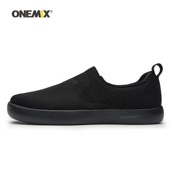 Onemix Men Skateboarding Shoes Women Slip On Black Knit Designer Classic Skateboard Sneakers Outdoor Jogging Walking Trainers