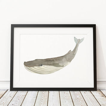 Whale print Nursery art Watercolor poster ACW18