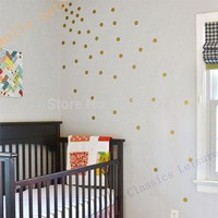 Free shipping Variety of sizes Gold Vinyl Wall Sticker Decal Art - Polka Dots Gold Polka Dots for nursery wall