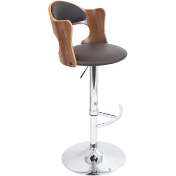 Cello Barstool, Walnut/Brown
