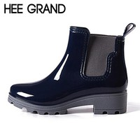 Fashion Online Hee Grand Platform Rain Boots Ladies Rubber Ankle Boots Low Heels Women Boots Slip On Flats Shoes Woman Plus Size 36-41 Xwx3577