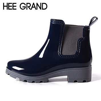 HEE GRAND Platform Rain Boots Ladies Rubber Ankle Boots Low Heels Women Boots Slip On
