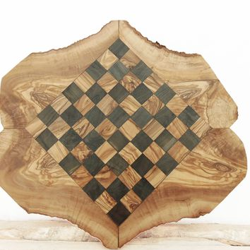 Personalized Olive Wood Chess Set Board Game 17.7 Inch, Dad gift, Boyfriend Gift