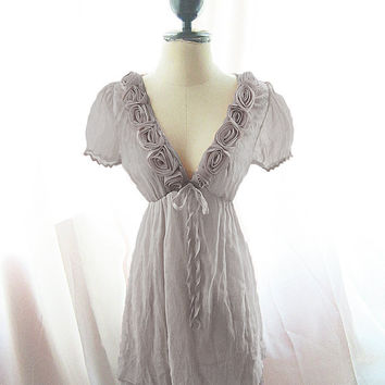 Dusty Gray Marie Antoinette Romantic Kimono Dress Rosette Nostalgia Alice in Wonderland Tea Party Dusk Puff Sleeve Chiffon Dress