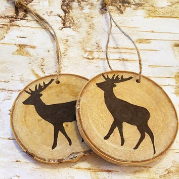 Rustic Birch Ornaments, Woodland Deer Painted on Birch Wood Slice, Hung w/ Twine, Holiday Rustic Decor, Tree Ornament, Woodland Decor