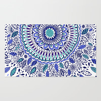 Indigo Flowered Mandala Area & Throw Rug by Janet Broxon