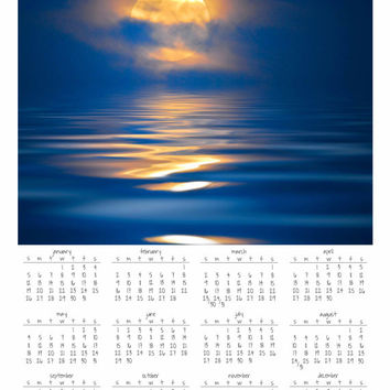 "Wall Calendar 2014, Year at a Glance, 11x14"" Print, Moon Rising at Night, Photography, Blue Water, Magical, Luna, Home Decor, New Year"