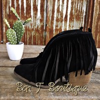 Savannah Fringe Booties ~ Black