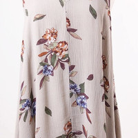 Floral Taupe Rayon Gauze Swing Top