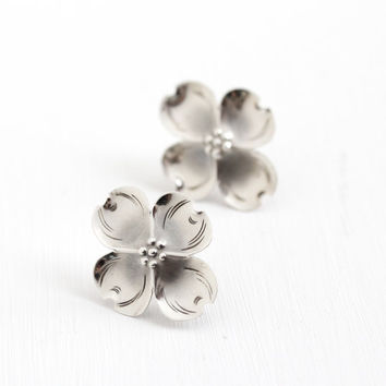 Vintage Sterling Silver Large Dogwood Flower Earrings - Retro Handmade Floral Statement Jewelry, Four Petal Bloom NYE