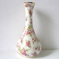 Porcelain Vintage White Vase, Pink Flowers, Golden