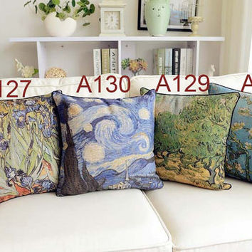 French Retro Vintage Country Abstract Floral Flower Cotton Linen Decorative Pillows Cushion Cover Pillow Sham
