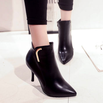 Europe Style Fashion Female High-heeled Women Boots Black Thin Heel Pointed Short Ankle Boots Short Boots Ladies Superstar Shoes