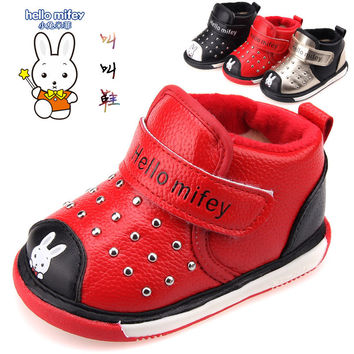 Kids PU leather Snow boots Kids Boys Girls shoes 2016 winter Classic fashion rivel leather Snow boots baby called cotton boots