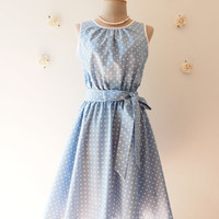 Baby Blue Dress Polka Dot Swing Dress Vintage Retro 50's Inspired Tea Dress Blue Bridesmaid Dress Party Dress Dancing Dress -XS-XL,Custom