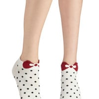ModCloth Statement Spot Me Socks in Cream
