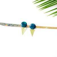 Dark turquoise wood earrings by See Rue. Brass triangle. Handmade wood button earrings. lead and nickel free