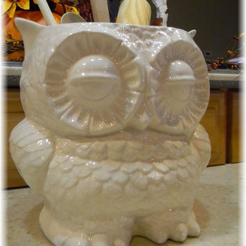 utensil holder kitchen organization owl large ceramic planter Owl Garden  . owlpl