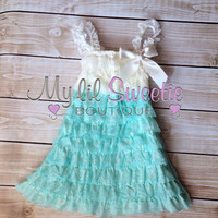 Ivory aqua dress, newborn dress, Lace dress, baby girl outfit, infant outfit, special occasion dress, toddler dress, girls dress,