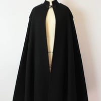 vintage 50s MANUEL PERTEGAZ cape / 1950s designer wool cape / black wool cloak cape / epaulet tassel cape