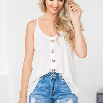 Cindy Thermal Button Tank | White