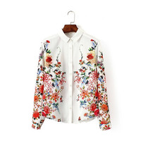 Women floral print chiffon blouses vintage turn down collar long sleeve shirts camisas femininas casual office wear tops LT439