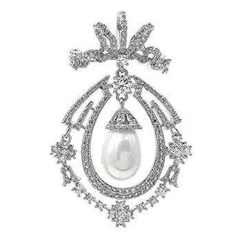 DREAMLANDSALES Art Nouveau Antique Micro Pave Opens Imitated Pearl Drop Brooch Silver Tone