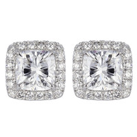4.04ctw Cushion Cut Diamond Halo Style Stud Earrings