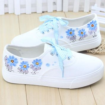 Women Summer  Hand-Painted Canvas Shoes  Fashion Girl Pedal Casual Shoes