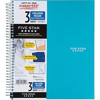 "Five Star® 3-Subject Notebook, College Ruled, Assorted, 8-1\/2"" x 11\"" 