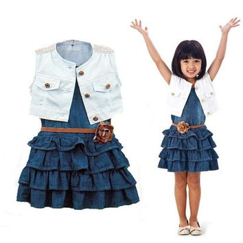 Baby Girl Kids Children Outfit Clothing Clothes Coat+Denim Dress Suit Y = 1930075588