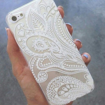 Iphone 6 Phone Case Henna White See Through Lace Print Hipster Phone Cover