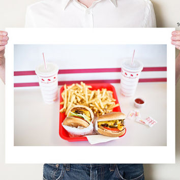 Kitchen artwork, fast food decor. In-N-Out Burger cheeseburgers photo print. Burgers & french fries photography. Americana decor. Pop art