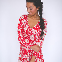 Floral Open Sleeve Tunic Dress