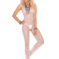 Seamless fishnet bodystocking with open crotch White