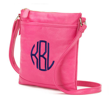 Hot Pink Crossbody Purse Wallet  - Monogrammed Personalized