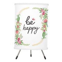 Be happy,cute,girly,trendy,floral,water color,chic tripod lamp