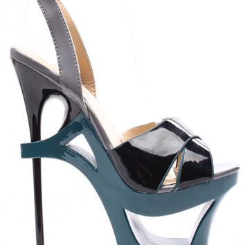 BLACK GREY COLOR-BLOCK ANKLE STRAP ULTRA HIGH PLATFORM HEELS