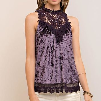 Deep Purple Velvet Crochet Top