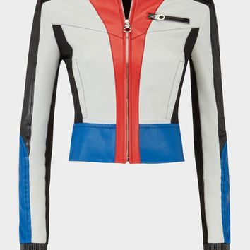 Versace Color Block Leather Biker Jacket for Women | US Online Store
